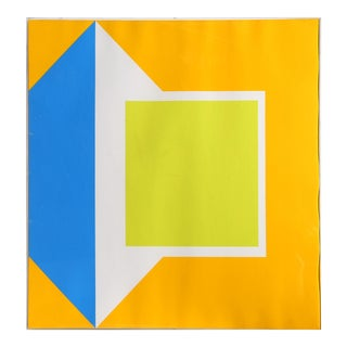 Yellow Geometric Abstract Serigraph by Georg Karl Pfahler