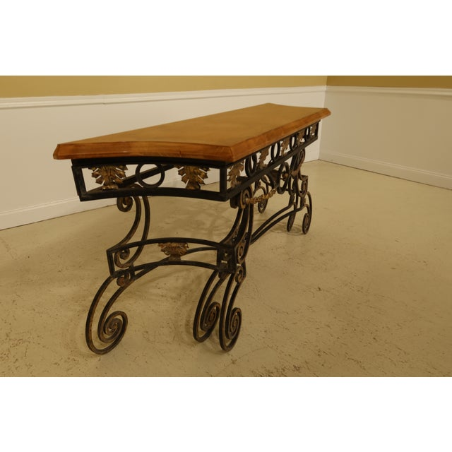 Wrought Iron Base Console Table with Maple Top For Sale - Image 4 of 13