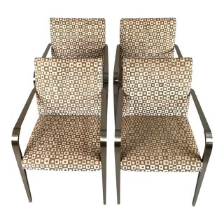 1950s Mid-Century Modern Hand Block Print Aria Chairs - Set of 4 For Sale