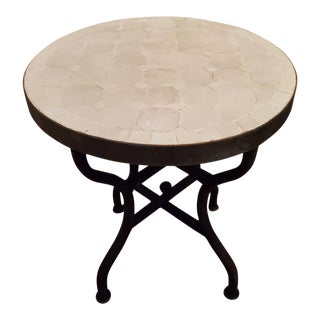 Moroccan White Mosaic Side Table For Sale