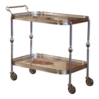 Mid-20th Century French Silvered and Glass Desert Table or Bar Cart on Wheels For Sale