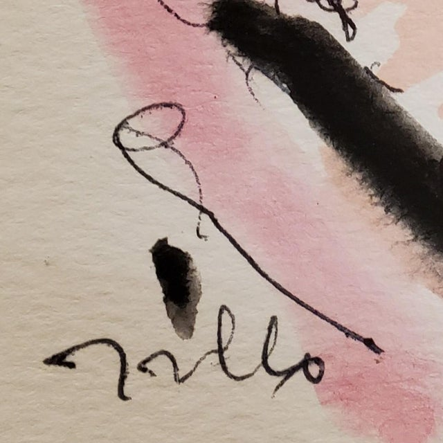 Jose Trujillo Original Minimalist Portrait Modernist Watercolor Painting Signed For Sale - Image 4 of 4