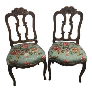 French Walnut Chairs With Hunt Scene Upholstery - a Pair