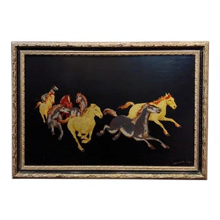 1960s Oil Painting & Gold Leafs Mix Media of Wild Mustangs For Sale
