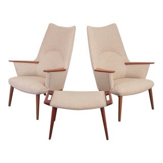 Pair of Hans J. Wegner AP-27 High Back Lounge Chairs For Sale
