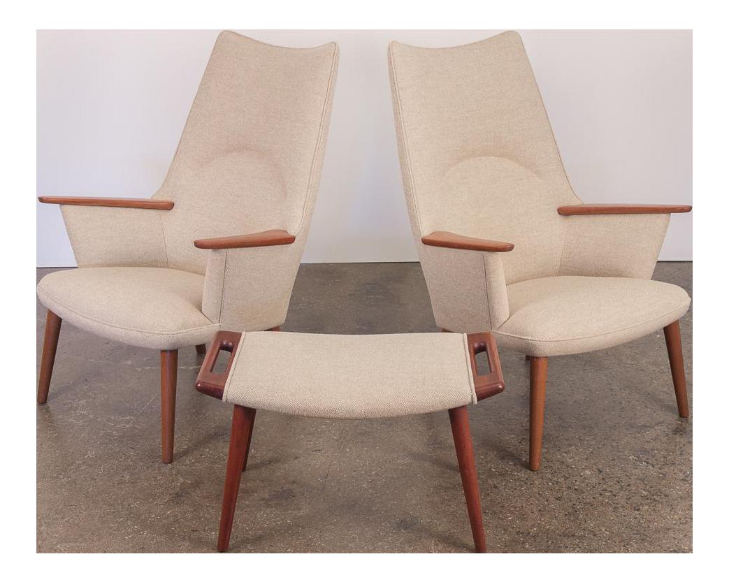 Pair Of Hans J. Wegner AP 27 High Back Lounge Chairs   Image 1