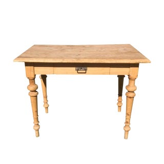 20th Century Rustic Pine Table/Desk With Drawer For Sale