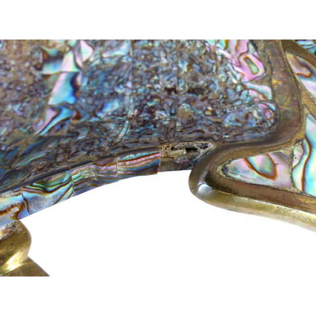 Los Castillo Los Castillo Mexican Mid-Century Modern Mixed Metal and Abalone Parrot Tray For Sale - Image 4 of 13