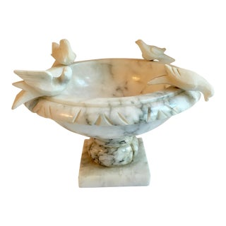 Carved Bird Marble Footed Bowl
