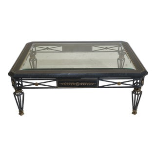 Regency Maitland Smith Marble Border Iron Base Coffee Table For Sale