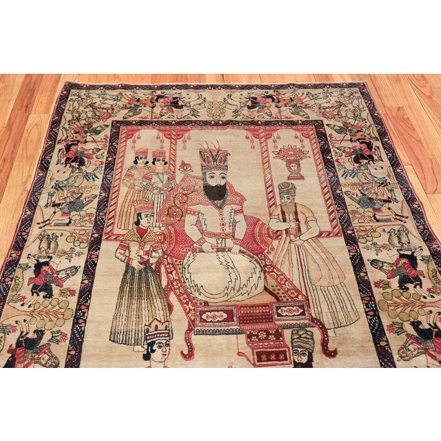 Late 19th Century Pictorial Antique Persian Kerman Rug - 4′8″ × 7′6″ For Sale - Image 5 of 13