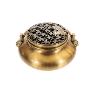 "Japanese Meiji Period 12"" Heavy Brass Hand Warmer For Sale"