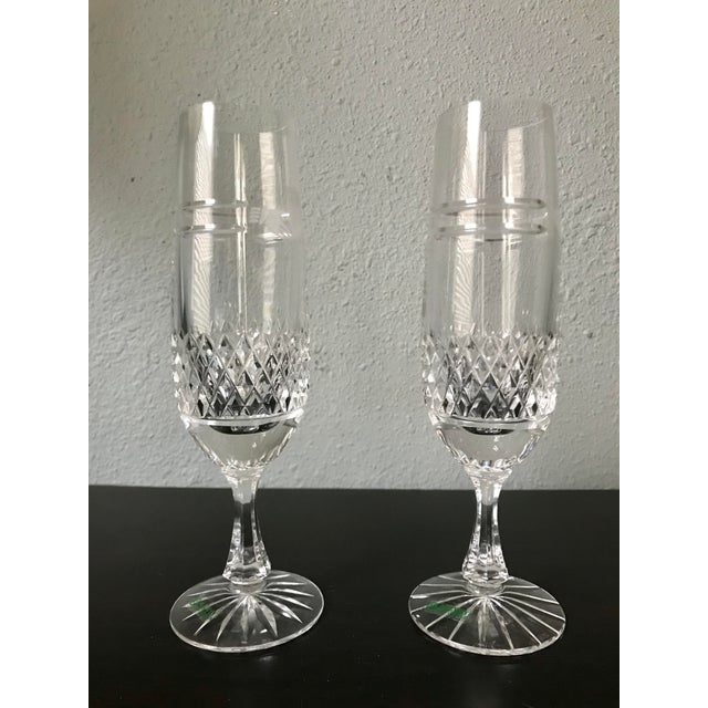 1980s 1980s Vintage Galway Irish Crystal Claddagh Ring Fluted Champagne Flutes-a Pair For Sale - Image 5 of 8