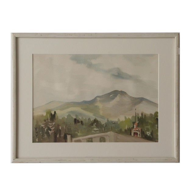 Vintage Watercolor Landscape of a Mountain Village - Image 4 of 4