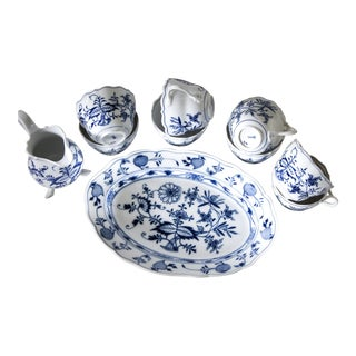 Authentic Antique Meissen Blue Onion Serving Set For Sale