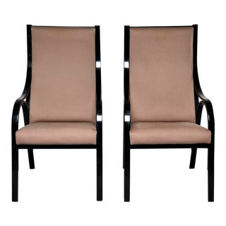 Pair Mid Century Ebonised High Back Italian Armchairs For Sale