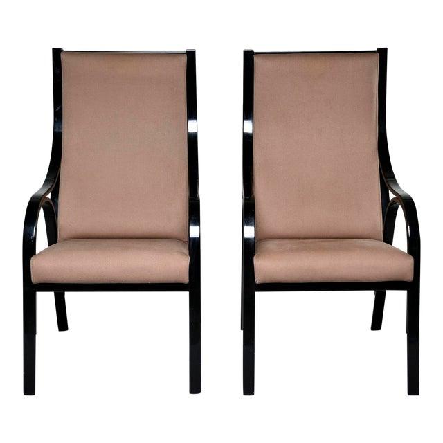 Pair Mid Century Ebonised High Back Italian Armchairs For Sale
