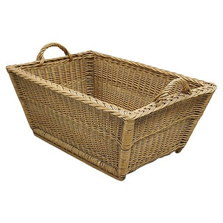 1960s French Wicker Laundry Basket For Sale