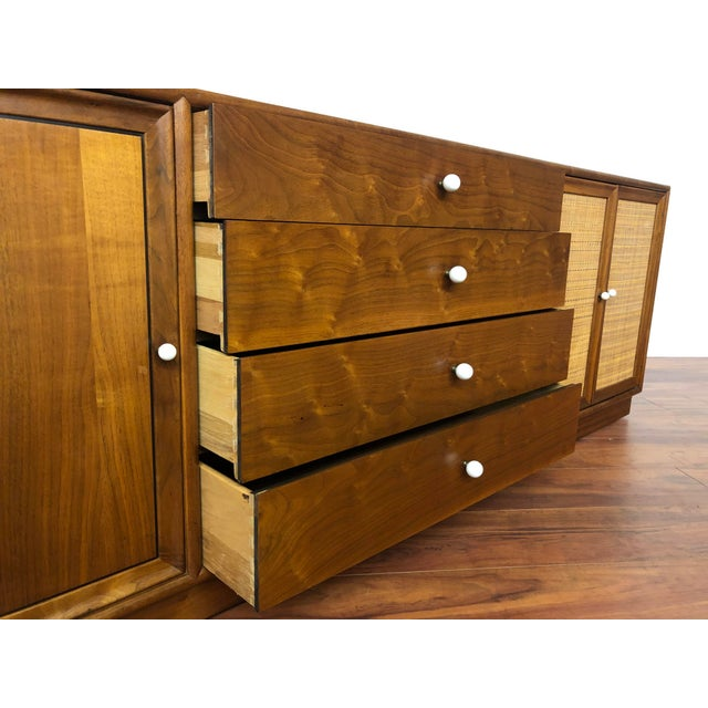 Brown Drexel Declaration Walnut Sideboard With Cane Accents For Sale - Image 8 of 12