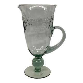 Vintage Hand Blown Glass Pitcher For Sale