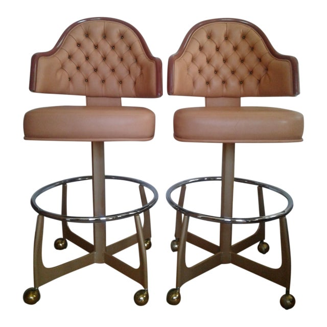Mid-Century Style Gasser Bar Chairs - a Pair For Sale