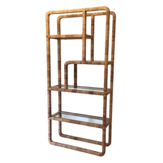 1970s Mid-Century Modern Rattan Wrapped Etagere For Sale