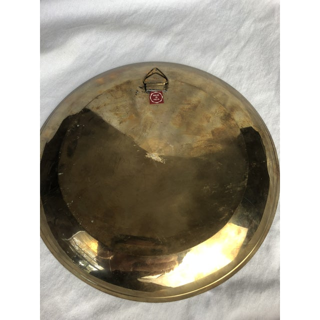Late 20th Century Vintage Brass Enamel Decorative Plate For Sale In Houston - Image 6 of 8
