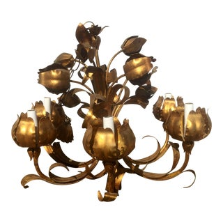 Hollywood Regency Style Gold Metal Flower Chandelier