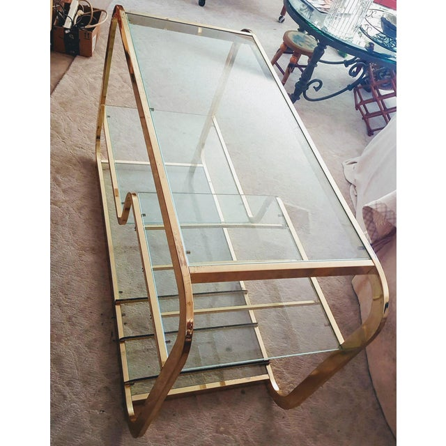 1970's Mid-Century Modern Milo Baughman Brass Etagere For Sale In Palm Springs - Image 6 of 9