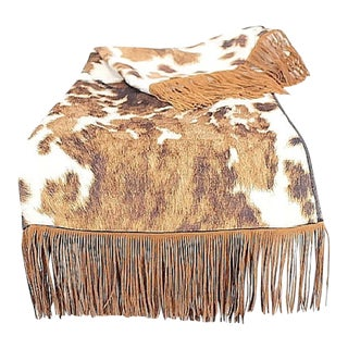 Kravet Cowhide Velvet Couch Throw Blanket With Piping and Fringe For Sale