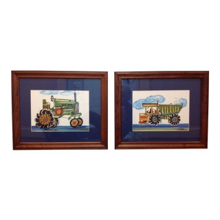 Joy Alldredge Framed Child's Room Art, Work Vehicle Prints - a Pair For Sale