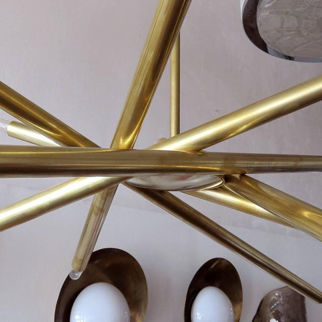 Raw Brass & Spiral Chandelier For Sale In Los Angeles - Image 6 of 11
