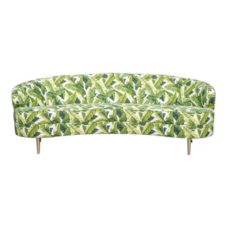 Modern Curved Palm Leaf Sofa With Brass Legs For Sale