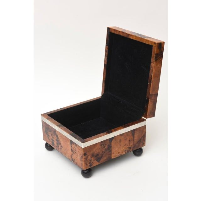 Maitland - Smith Maitland Smith Tessellated Tortoise Shell, Wood and Chrome Hinged Box For Sale - Image 4 of 10