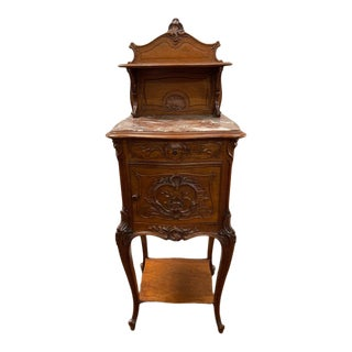 1880 Heavily Carved Walnut French Marble Top Nightstand With Detachable Shelf For Sale