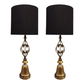 Pair of Wrought Iron and Gold Leaf Lamps For Sale