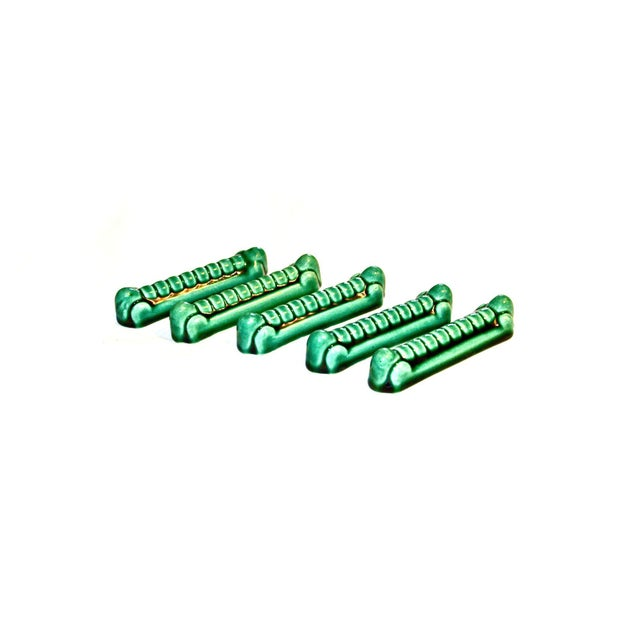 French Art Deco Green Porcelain Knife Rests - Set of 5 For Sale - Image 4 of 8