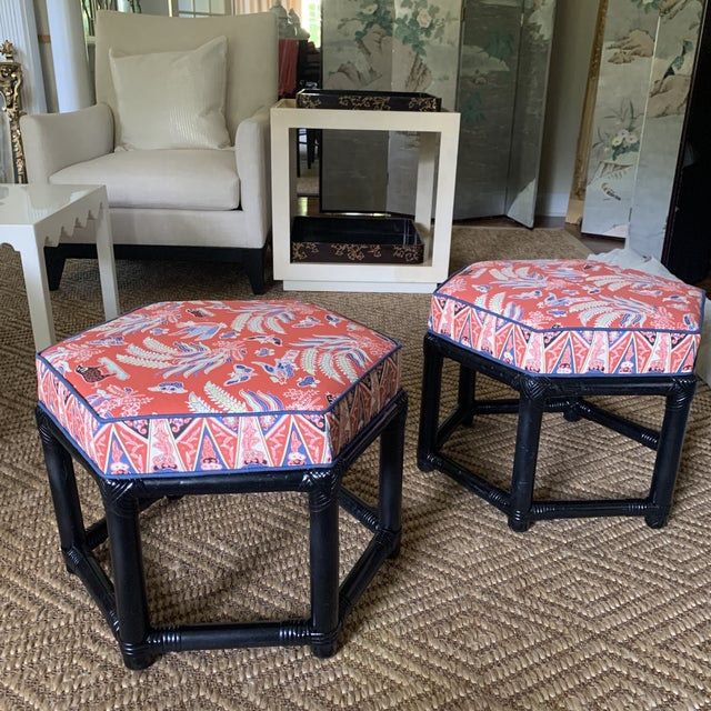 1960s Willow & Reed Chinoiserie Rattan Octagonal Ottomans- a Pair For Sale - Image 10 of 13