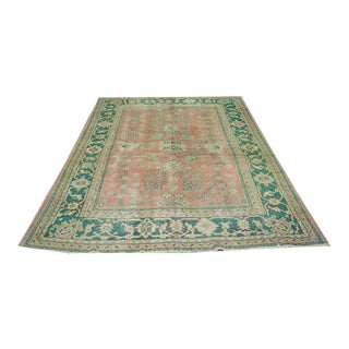 1920s Distressed Turkish Oushak Rug - 6′8″ × 9′6″ For Sale