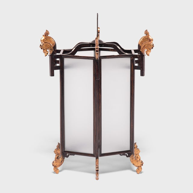 19th Century Chinese Lantern With Gilt Lotus Finials For Sale - Image 4 of 7