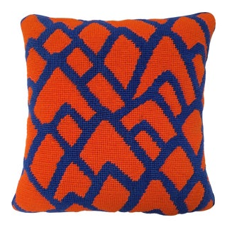 Contemporary Needlepoint Orange and Blue Bargello Accent Throw Pillow For Sale