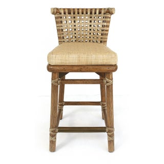 McGuire San Francisco Leather Bound Counter Stools With Raffia Seats - A Pair Preview