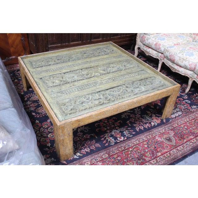 Gray Antique Indian Architectual Fragment Custom Coffee Table For Sale - Image 8 of 8