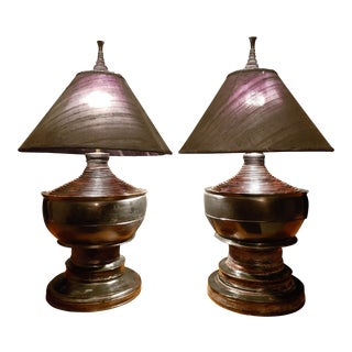 Early 20th Century Burmese Lacquer Pagoda Lamps - a Pair For Sale