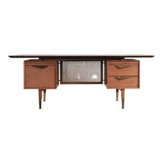 1960s Mid-Century Modern Teak Tanker Desk For Sale