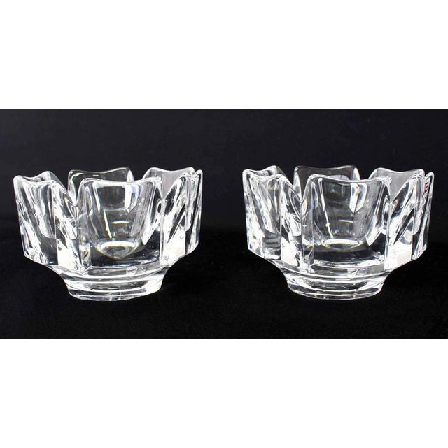 Orrefors Pair of Heavy Crystal Bowl Vases by Orrefors For Sale - Image 4 of 9