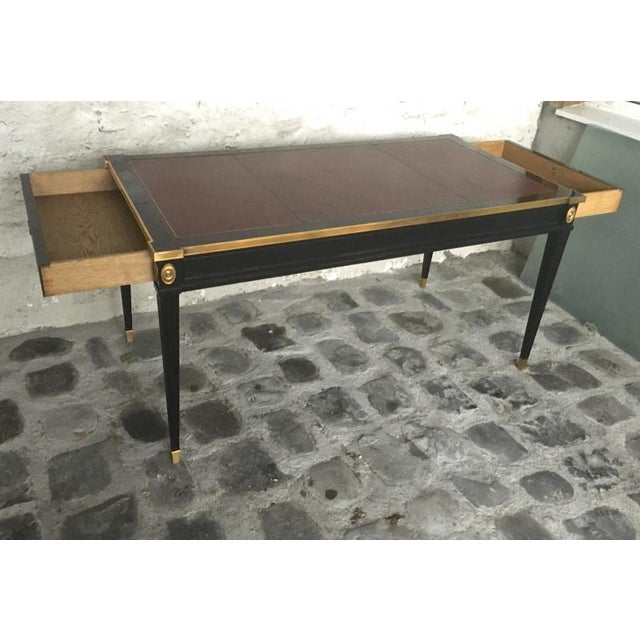 Metal Maison Jansen Chicest Slender Desk With Side Drawers and Gold Bronze Adorn For Sale - Image 7 of 9
