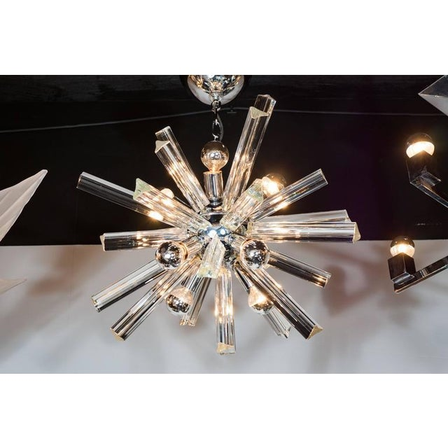 Chrome Mid-Century Modern Sputnik Chrome Chandelier with Murano Triedre Rods by Camer For Sale - Image 7 of 8
