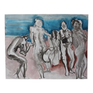 "Contemporary Figurative Acrylic Wash in Blue ""Rio Grande"" by Peter Ruddick For Sale"