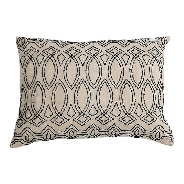 Pyar Contemporary Black Beaded Pillow - Image 1 of 3